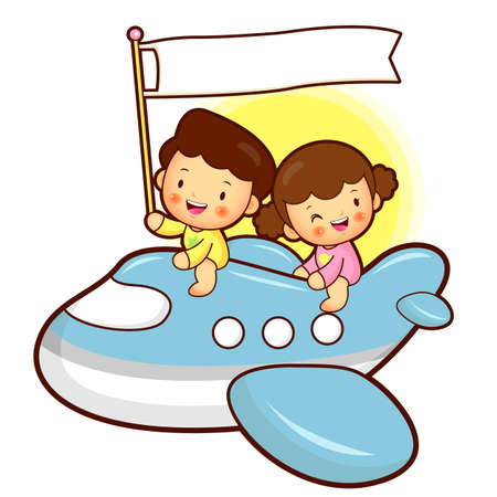Boys and girls traveling on a plane, Childrens Character Design Vector