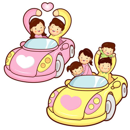 Car ride family and couples, Home Character Design Vector
