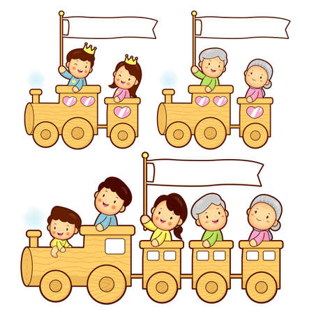 The train trip is an enjoyable family characters. Home Character Design Vector