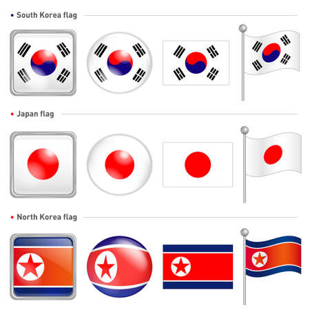 South Korea and North Korea, Japan national Icon Vector