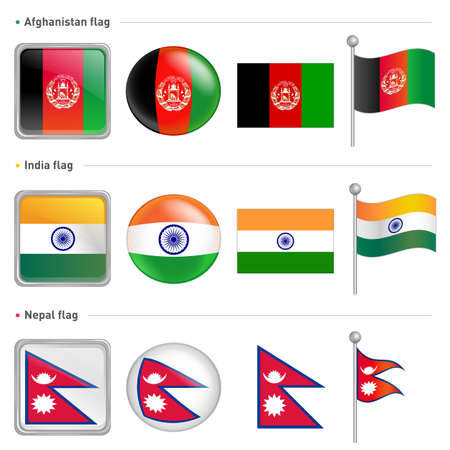India and Nepal, Afghanistan national Icon Vector