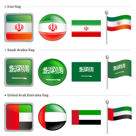 Iran and Saudi, Arabia national Icon Vector