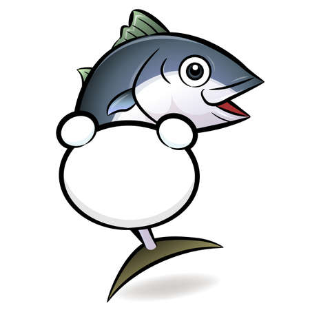 Holding the banner of the tuna characters. The finny tribe Character Design Vector