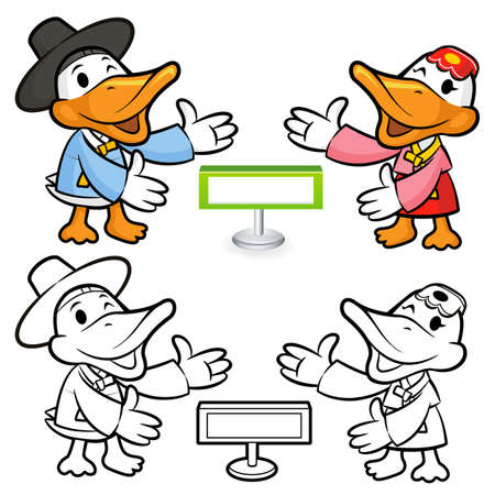 Toward the end of the search window to guide the Korean Duck  a bird Character Design Vector