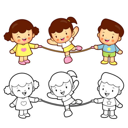 Rope skipping a boys and girls. Sport Games Character Design Vector