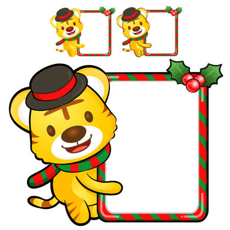 The Tigers are holding a Christmas banner. Anniversary Character Design Vector