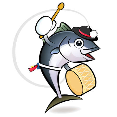 Korean dance a tuna Character Design. Fresh Character Design Vector