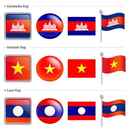 Laos and Vietnam, Cambodia national Icon Vector
