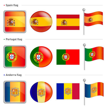 Spain and Portugal, Andorra national Icon Vector