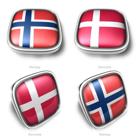 Norway and Denmark 3d metallic square flag button photo