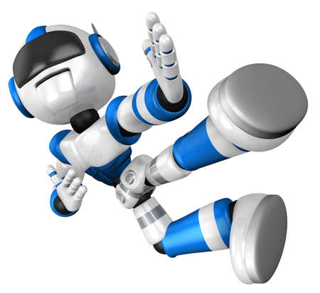 The blue robot on kicks. 3D Robot Character Design photo