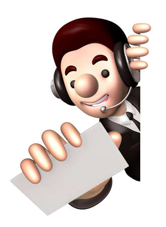 Man holding out a business card. 3D Warrantee Service Man Character Design photo