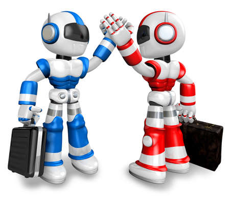 blue robot and red robot gave each other high fives. 3D Robot Character Design photo