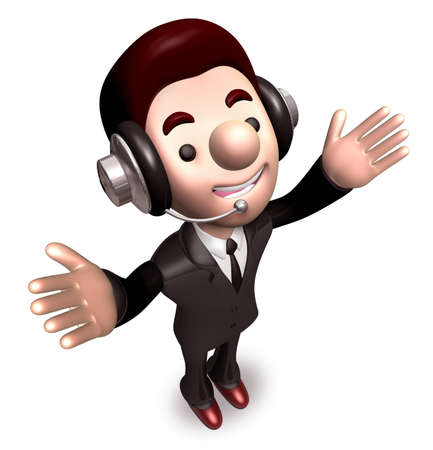 Welcoming gesture, business man. 3D Warrantee Service Man Character Design photo