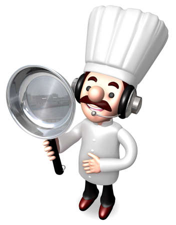 Best Chef male holding a frying pan  3D Chef Character Design photo