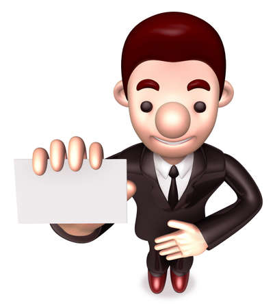 Friendly service man showing a business card  3D Warrantee Service Man Character Design photo