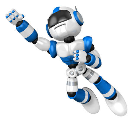 Blue robot flying towards the sky  3D Robot Character Design photo