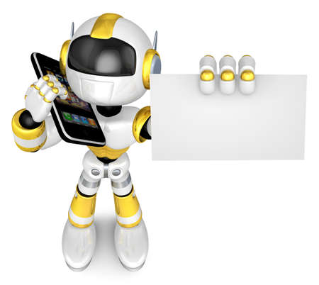 The gold Robot Phone calls and business cards showing  3D Robot Character Design Stock Photo - 16214558