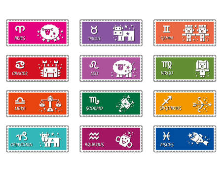 Zodiac stamps design  The West Twelve zodiac Character Design Series  Vector