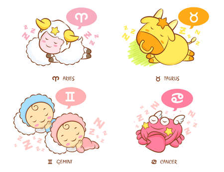 Sleeping Aries and Taurus, Dream of Twins and Crab Mascot  The West Twelve zodiac Character Design Series  Vector