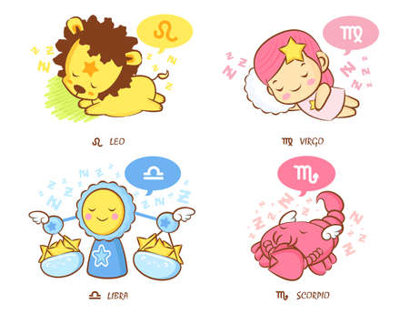 Sleeping Leo and Virgo, Dream of Libra and Scorpio Mascot  The West Twelve zodiac Character Design Series  Vector