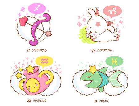 Sleeping Sagittarius and Capricorn, Dream of Aquarius and Pisces Mascot  The West Twelve zodiac Character Design Series  Vector