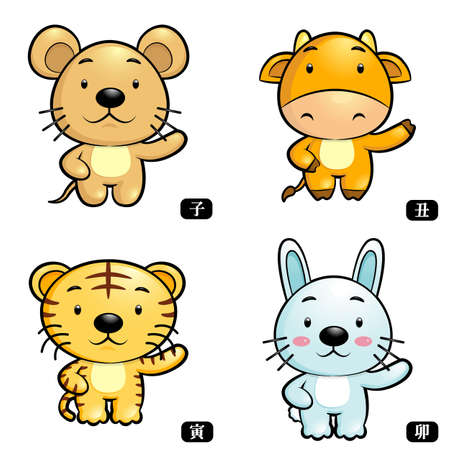 Zodiac Rat and Cow, Tiger and Rabbit Mascot  The East Twelve zodiac Character Design Series  Vector