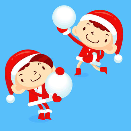 Snowball fight to play boys and girls  Winter Season Character Design Series  Vector