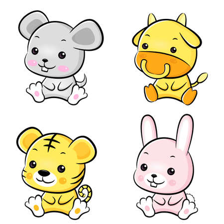 The front sit down Rat and Cow, Tiger and Rabbit Mascot  The East Twelve zodiac Character Design Series  Vector