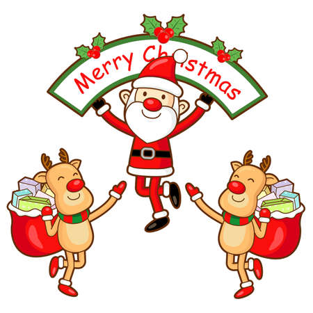 Santa Claus and Rudolph mascot the event activity  Christmas Character Design Series  Vector