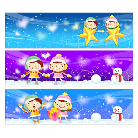 Banner design utilizing dating couples Mascot  Christmas Character Design Series  Vector