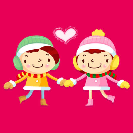 Card design utilizing dating couples Mascot  Christmas Character Design Series  Vector