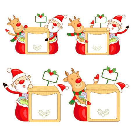 Santa Claus and Rudolph mascot the event activity  Christmas Character Design Series  Stock Vector - 16323762