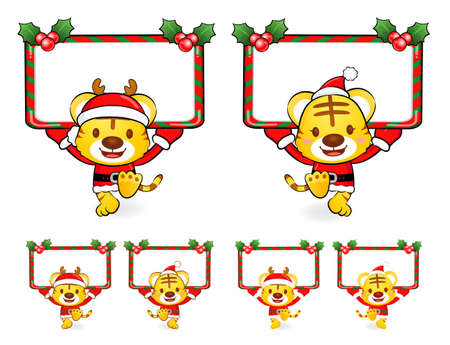 Santa Claus Mascot using a variety of banner designs  Christmas Character Design Series  Stock Vector - 16323770