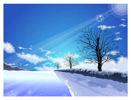 The path of the light shining in winter  Winter Season background Series  Vector