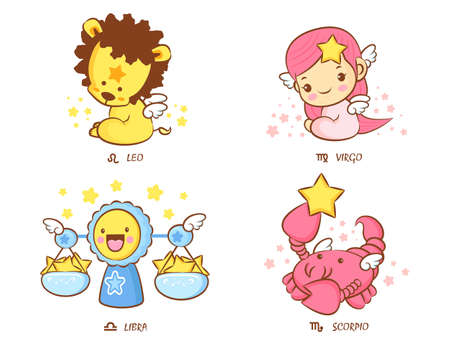 The front sit down Leo and Virgo,  Libra and Scorpio Mascot  The West Twelve zodiac Character Design Series  Vector
