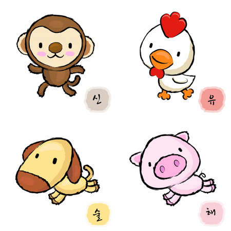 Running Chickens and Monkey, Dogs and Pigs Mascot  The East Twelve zodiac Character Design Series  Vector