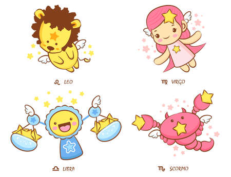Flying Leo and Virgo, Libra and Scorpio Mascot  The West Twelve zodiac Character Design Series  Vector