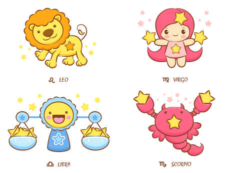 The front stand up Leo and Virgo, Libra and Scorpio Mascot  The West Twelve zodiac Character Design Series  Vector