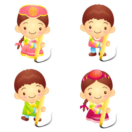 Dressed in the traditional costume of Korea Boys and girls Event activities  New Year Character Design Series  Vector