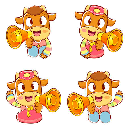 Korean traditional bulls Event activities  New Year Character Design Series  Vector