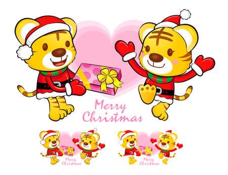 Tigre de Santa Claus y la mascota venado actividad de eventos de Navidad Car�cter Serie Dise�o Foto de archivo - 16938753