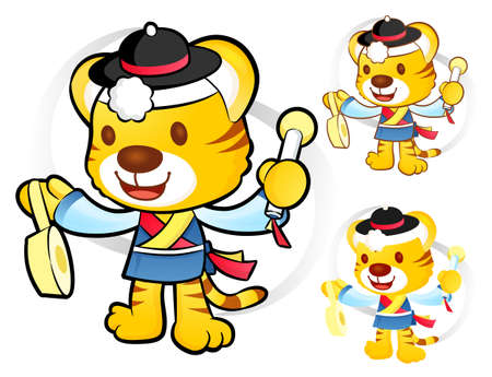 Korean traditional play Samulnori  New Year Character Design Series  Vector