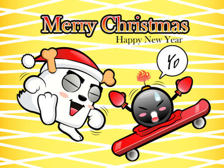 Christmas card fun dancing with the bomb  Christmas Card Design Series Vector