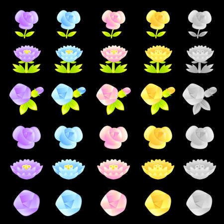 Flowers decorative Icons sets  Creative Icon Design Series  Stock Vector - 16938797