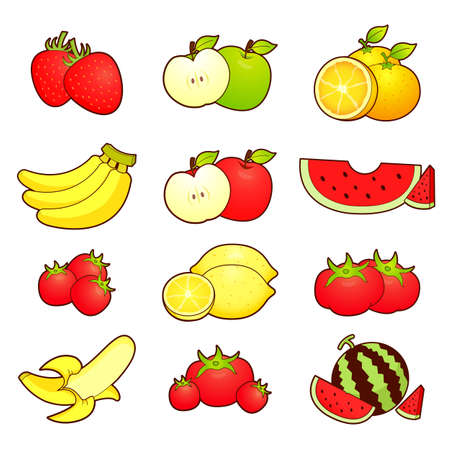 A wide variety of fruits icons sets  Creative Icon Design Series  Vector