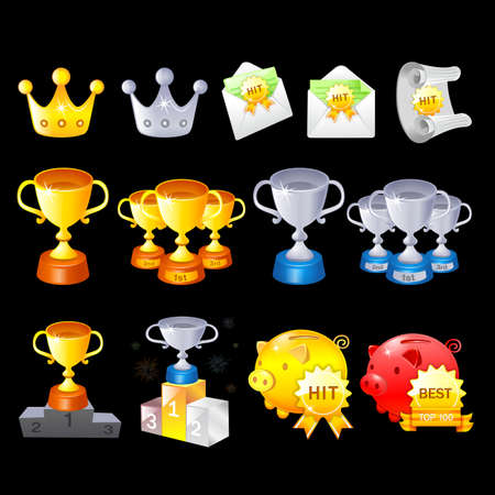 Gold, Silver, Bronze Contest Awards icon sets  Creative Icon Design Series  Stock Vector - 16938860