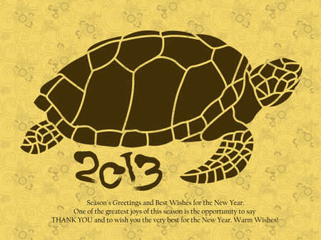 New Year greeting cards decorated with Oriental a Turtles  New Year Card Design Series Vector