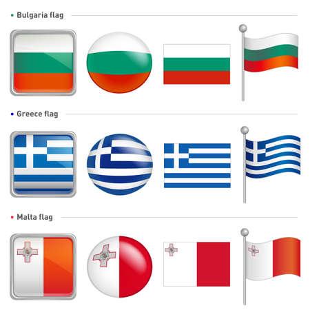 Bulgaria and Greece, Malta Flag Icon  The world national Icon Design Series  Stock Vector - 17183050