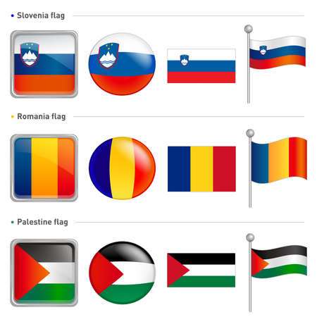 Slovenia and Romania, Palestine Flag Icon  The world national Icon Design Series  Vector